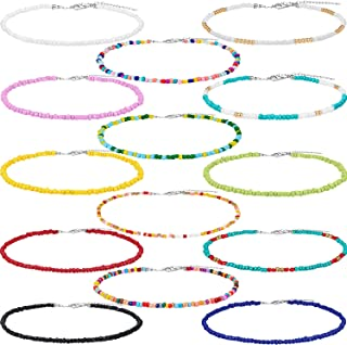 Seed Bead Choker Necklace Tiny Beaded Choker Boho Colorful Choker Necklace Chain Jewelry for Women and Girls, Adjustable 12-16 Inches (Color Set 4, 14 Pieces)