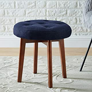 24KF Linen Tufted Round Ottoman with Solid Wood Leg, Upholstered Padded Stool - Navy