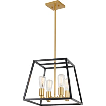 Artika Car15 On Carter Square 4 Pendant Light Fixture Kitchen Island Chandelier With A Steel Black And Gold Finish Amazon Com