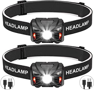 BINWO USB Rechargeable LED Headlamp with Red Safety Light for Adults and Kids, Lightweight, 6 Modes with Adjustable Headband, Head Lamp with Sensor Perfect for Running, Camping, Outdoors, 2 Pack