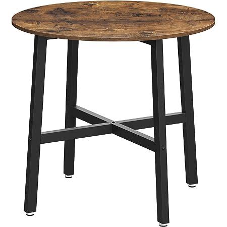 VASAGLE Table à Manger, Table de Cuisine Ronde, pour Salon, Bureau, 80 x 75 cm (ø x H), Style Industriel, Marron Rustique et Noir KDT080B01