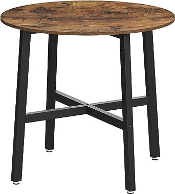 VASAGLE Table à Manger, Table de Cuisine Ronde, pour Salon, Bureau, 80 x 75 cm (ø x H), Style Industriel, Marron Rustique et