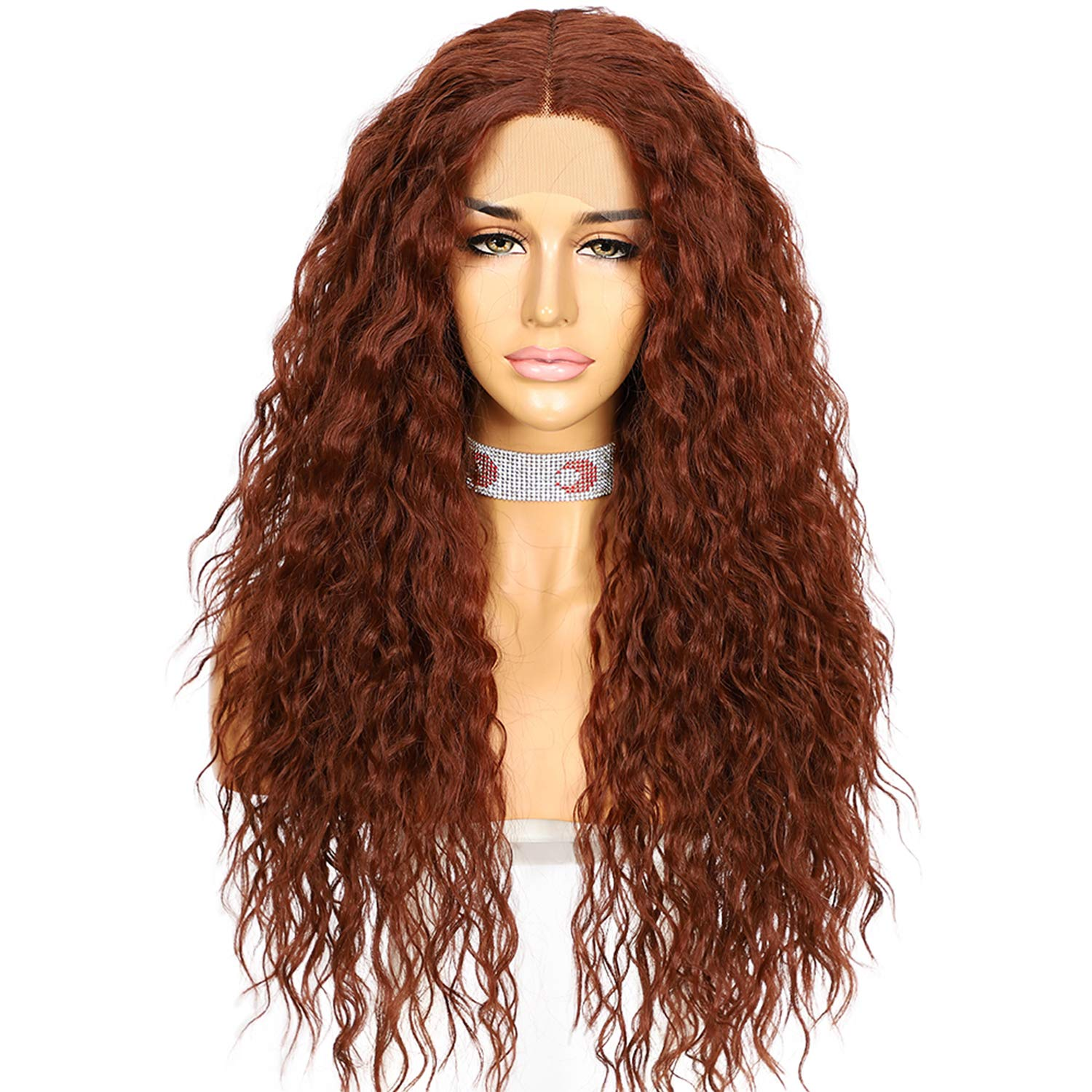 Copper Red Synthetic Lace Front Max 55% OFF Wigs Inches Limited time sale Part Loose Long T 26