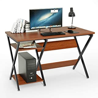47inch Computer Desk, DEWEL Modern Rustic Desk with Storage Rack Office Desk, Wooden Appearance X Cross Frame Home Industry Easy to Assemble Home Studio Series Classic Desk for Living Room