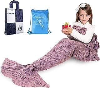 SENYANG Mermaid Tail Blanket, Mermaid Blanket for Kids Hand Crochet Snuggle Kids Mermaid Blanket for Girls, Sweet Girls Gifts for Girls Toys (Ruffle-Lavender)