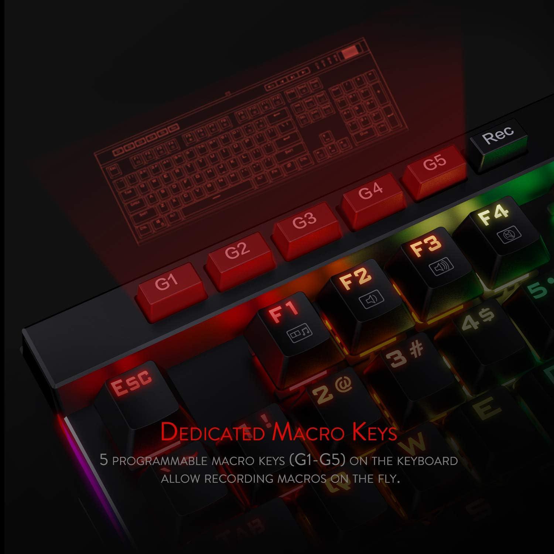 Redragon K580-PRO RGB Backlit Mechanical Gaming Keyboard with Macro Keys /& Dedicated Media Controls Optical Brown Switches Onboard Macro Recording