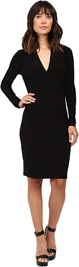 KAMALIKULTURE by Norma Kamali Long Sleeve Modern Side Drape Dress To Knee