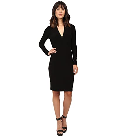 KAMALIKULTURE by Norma Kamali Long Sleeve Modern Side Drape Dress To Knee (Black) Women