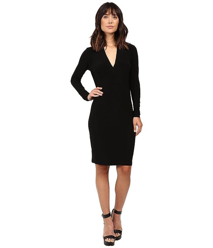 KAMALIKULTURE by Norma Kamali Long Sleeve Modern Side Drape Dress To Knee (Black) Women