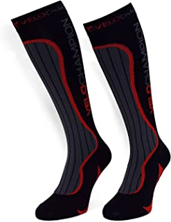 VeloChampion Calcetines Compresión Deporte - Ciclismo, Running, Triatlón (Negro) Compression Sports Socks - Black - For Running, Cycling, Triathlon