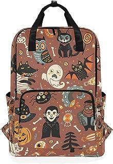 MONTOJ Mochila de Viaje para Halloween, calcomanía de Gato Negro y Mochila Escolar de Calabaza