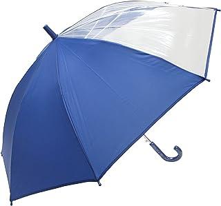 子供用長傘 軽くて丈夫なグラスファイバー骨 見通しの良い ビニール 2面 55cm ジャンプ傘 (紺.)