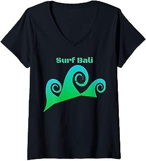 Womens Surf Bali Waves Tropical Island Paradise V-Neck T-Shirt