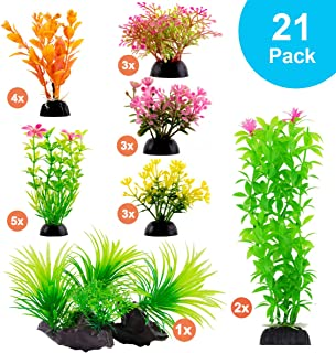 CousDUoBe Aquarium Decorations 21 Pack Lifelike Plastic Decor Fish Tank Plants,Used for..