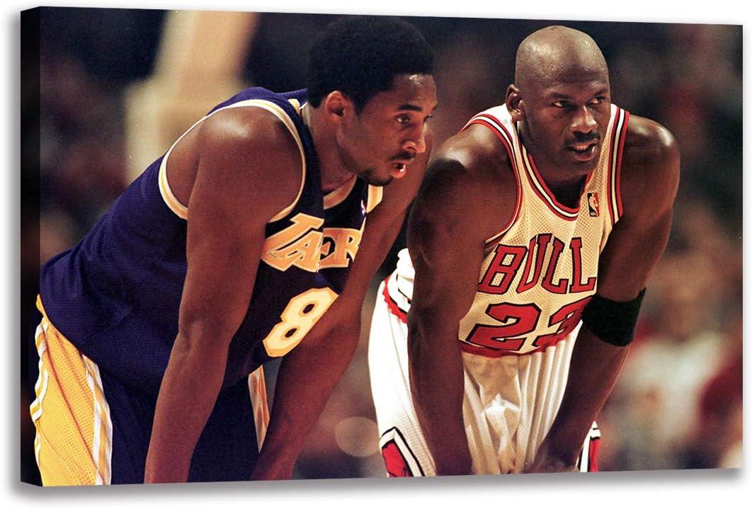Michael Jordan and Young プレゼント Kobe 購入 Bryant Wall Canvas Po Painting Art