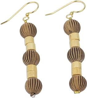 NOVICA Brass Plastic Wood Dangle Hook Earrings 'Paper Lanterns'