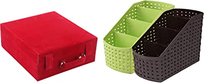 Kuber Industries Wooden 1 Piece Three Rod Velvet Bangle Storage Box (Maroon) - CTKTC22736 & Compact 2 Piece Plastic Storage Basket (CTKTC5268) Combo