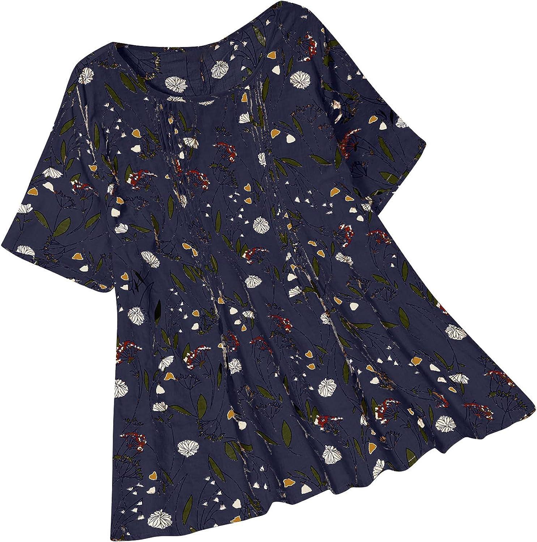 Plus Size Blouse for Women Cotton Linen Shirt Crew Neck Pullover Cute Floral Tunic Short Sleeve Tops