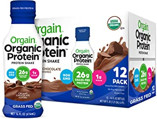 Orgain Organic 26g Grass Fed Whey Protein Shake, Creamy Chocolate - Meal Replacement, Ready to Drink, Low Net Carbs, No Su...
