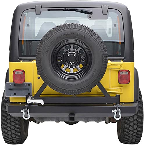 lowest Mallofusa For new arrival 87-06 Jeep online sale Wrangler TJ YJ Rear Bumper with Tire Carrier Hitch Receiver D-Rings outlet sale