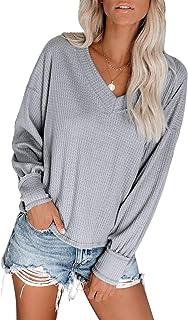 Auremore Womens V Neck Waffle Knit Shirt Loose Long Sleeve Tops Blouse Tees