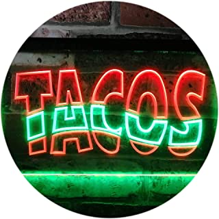 ADVPRO Mexican Tacos Restaurant Bar Dual Color LED Neon Sign Green & Red 16