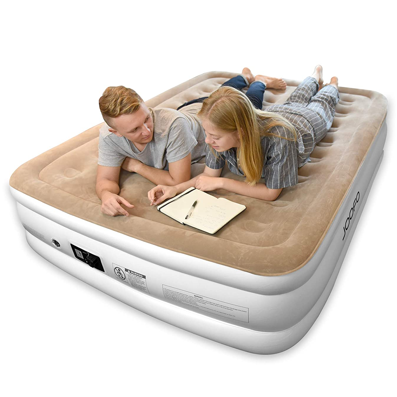 Joofo Air Mattress Queen,Breathability and Comfort Double HIGH Raised Inflatable Airbed with Upgraded Built-in Pump for Guests,Kids,Camping& 3-Year Guarantee Bed Height 18