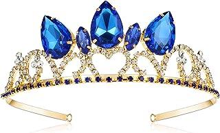 VINJEWELRY Descendants 3 Blue Crown Audrey Costume Tiara Birthday Party Crown Teardrop Sapphire Crown Jewelry for Princess...