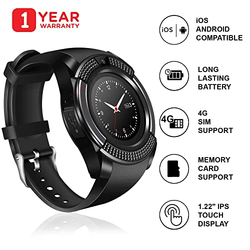 904718b55ab JSTBUY LABEL V8 Round Touchscreen Bluetooth Smartwatch with Camera and SIM  Card Support Compatible with Android