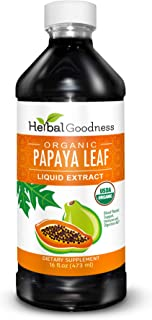 Papaya Leaf Liquid Extract - Natural Blood Platelet Level Boost, Bone Marrow, Immune Gut, Digestive Enzyme - Organic Non-G...
