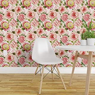 Spoonflower Peel and Stick Removable Wallpaper, Moody Florals, Antique, English Country, Cottage Chic, French Farmhouse, Shabby Chic, Redoute Print, Self-Adhesive Wallpaper 24in x 108in Roll
