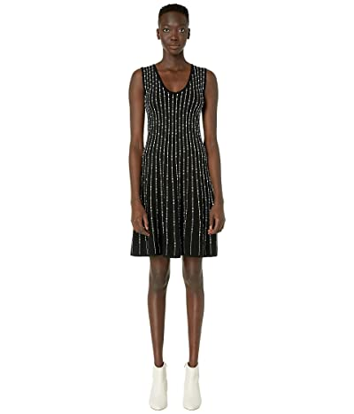 M Missoni Sleeveless U-Neck Short Dress with Pearl Stitch (Black/White) Women