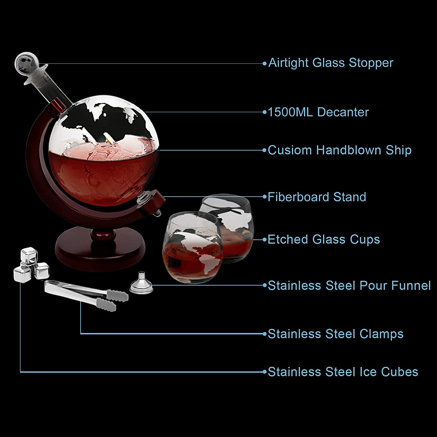 2 Etched Globe Glasses Ice Tongs and 4 Whiskey Stones 1500 ml Globe Decanter with Glass Set Stopper Glass Whisky Decanter Set Stainless Steel Pouring Funnel