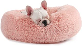 Veehoo Self-Warming Round Dog Bed for Small and Medium Dogs & Cats, Luxurious Faux Fur Donut Cuddler, Bolster Pet Bed & Sofa, Extra Plush Dog Pillow & Couch, Machine Washable