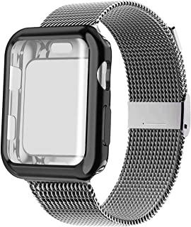 YC YANCH Compatible with Appla Watch Band 38mm 40mm 42mm 44mm with Case, Stainless Steel Mesh Loop Band with Appla Watch Screen Protector Compatible with iWatsh Appla Watch Series 1/2/3/4