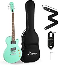 Donner DLP-124G Solid Body Full-Size 39 Inch LP Electric Guitar Kit Surf Green, with Bag, Strap, Cable, for Beginner