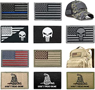 Bundle 10 Pieces US Flag Patch American Flag Punisher Patches Tactical Military Morale Patch Set