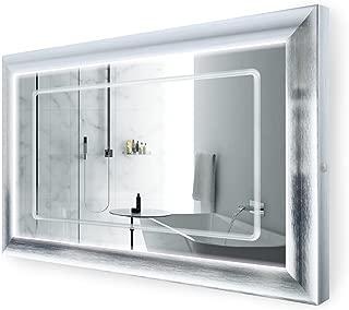 Krugg LED Lighted 48 Inch x 30 Inch Bathroom Satin Silver Framed Mirror w/Defogger
