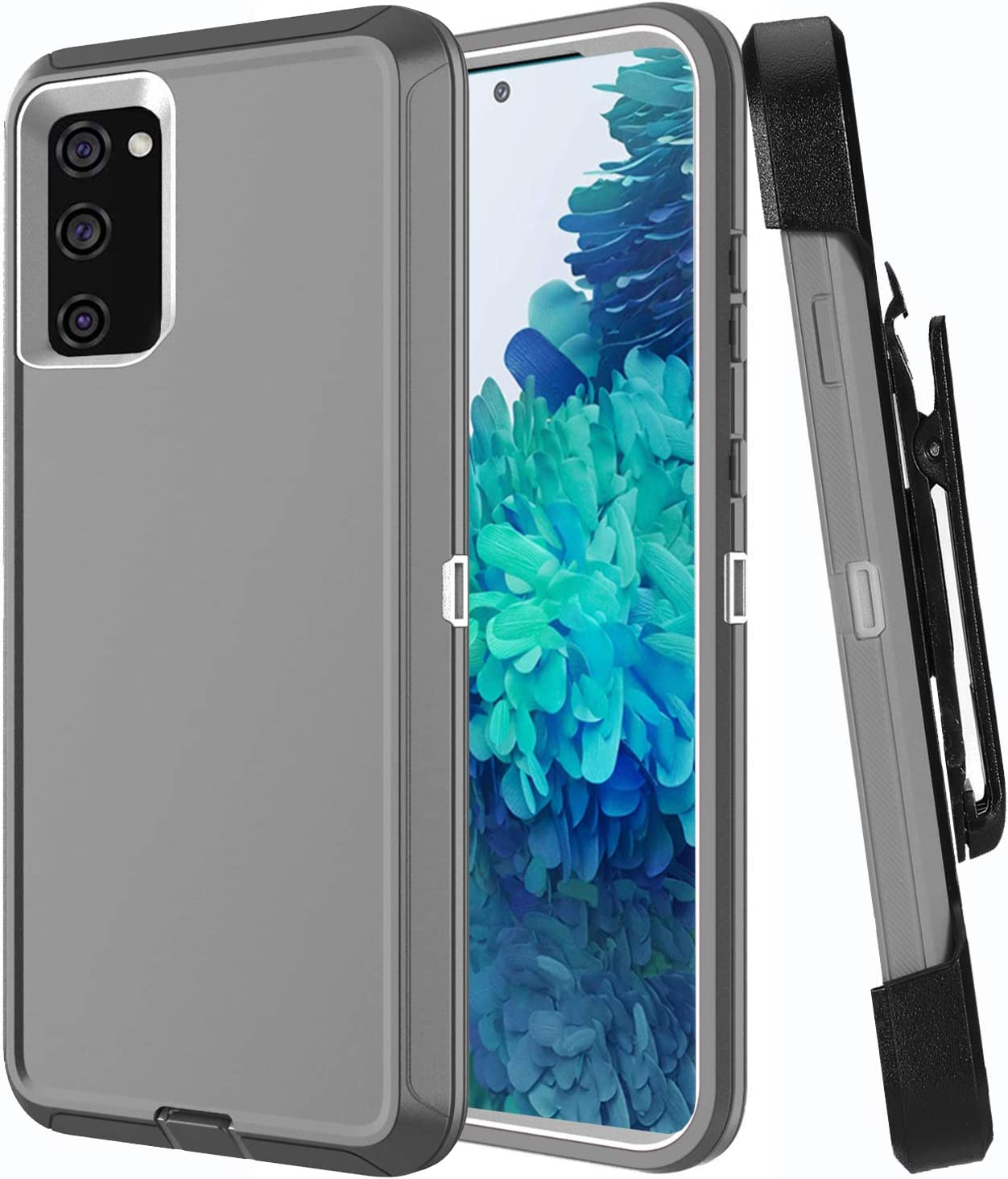 Aimoll-88 Galaxy S20 FE 5G Case with Screen Protector Heavy Duty Cover for Samsung S20 FE 5G Case Belt Clip Hybrid Shockproof Drop Protection Holster for Samsung Galaxy S20 FE 5G 6.5 inch (Grey/White)
