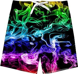 Funnycokid Boys Swim Shorts Printed Funny Quick Dry Swimwear Kids Board Trunks 6-16 Years