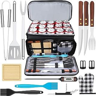 AISITIN Set Barbecue Accessori Barbecue Kit con Isolata Borsa Termica BBQ Acciaio Inossidabile Strumenti per Feste All'ape...