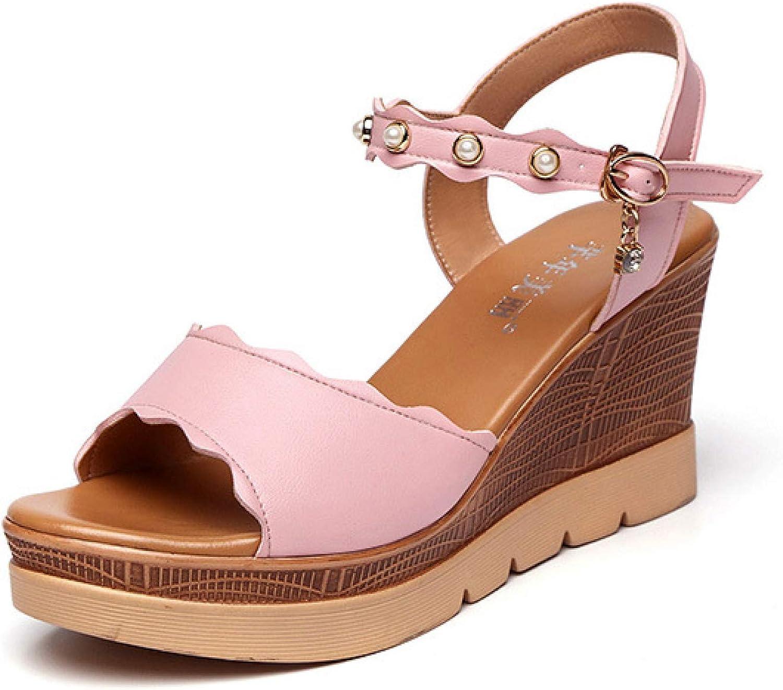 Woman Outdoor Platform Wedges Sandals Peep Toe Adjustable Buckle Ankle Strap Casual Waterproof Shoes Pink
