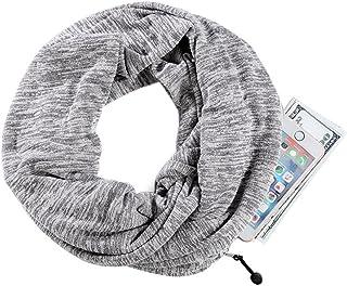 Lightweight Travel Neck Scarf Infinity Loop Color Scarf With One Hidden Zipper Pocket for Women Men