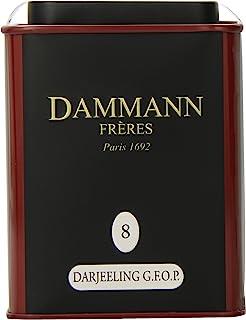 Dammann Freres Loose Leaf, India Darjeeling Premium Gourmet Black French Tea, Peach, Almond Flavors, 3.52 Ounce Tin