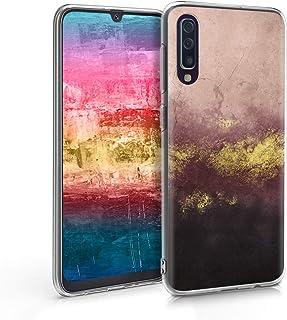 kwmobile Funda Compatible con Samsung Galaxy A50 - Carcasa de TPU y Granito Metalizado en Dorado/Rosa Palo/Negro