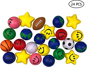 24 Pack Stress Balls Assorted Colors and Designs Stress Relief Toys for Kids Adults Party Favor Toy