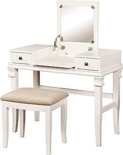 "Linon Angela Vanity Set, White, 30"" x 36"" x 18"","