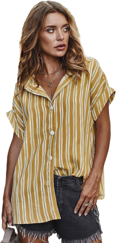 Women's Shirt V Neck Button Down Short Sleeve Blouse Loose Striped Shirts Tops