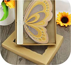 50Piece/Lot Customized Paper Greeting Cards Invitations Butterfly Wedding Invitations Card in A Box,White,OneSize