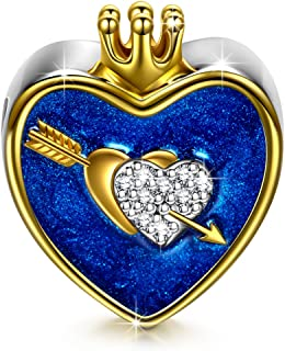 The Arrow Of Love Christmas Charms Gifts 925 Sterling Silver Gold Plated Heart Shape Crown I Love You Navy Enamel Bead Charms with 5A Cubic Zirconias